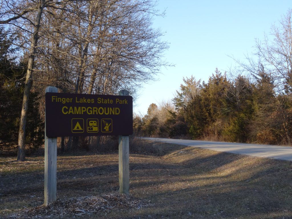 Finger lakes state park sign for campground