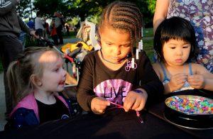 three children crafting