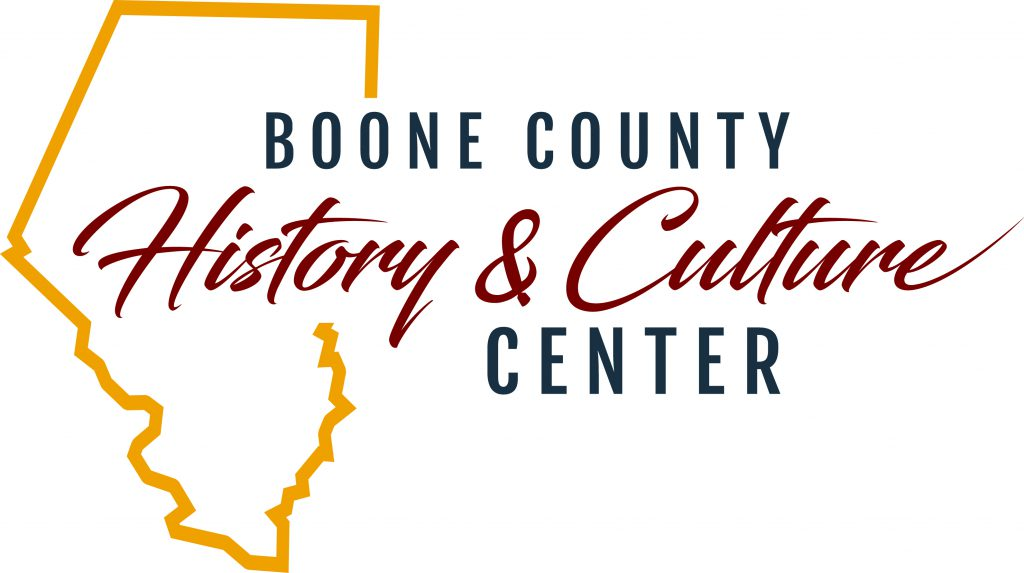 logo for Boone County History and Culture Center with outline shape of the county
