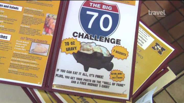 A menu shows the big 70 challenge - if you can eat it all, it's free.