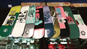 skateboards at a skate shop