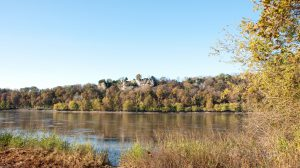 fall foliage along bluffs by the Missouri River