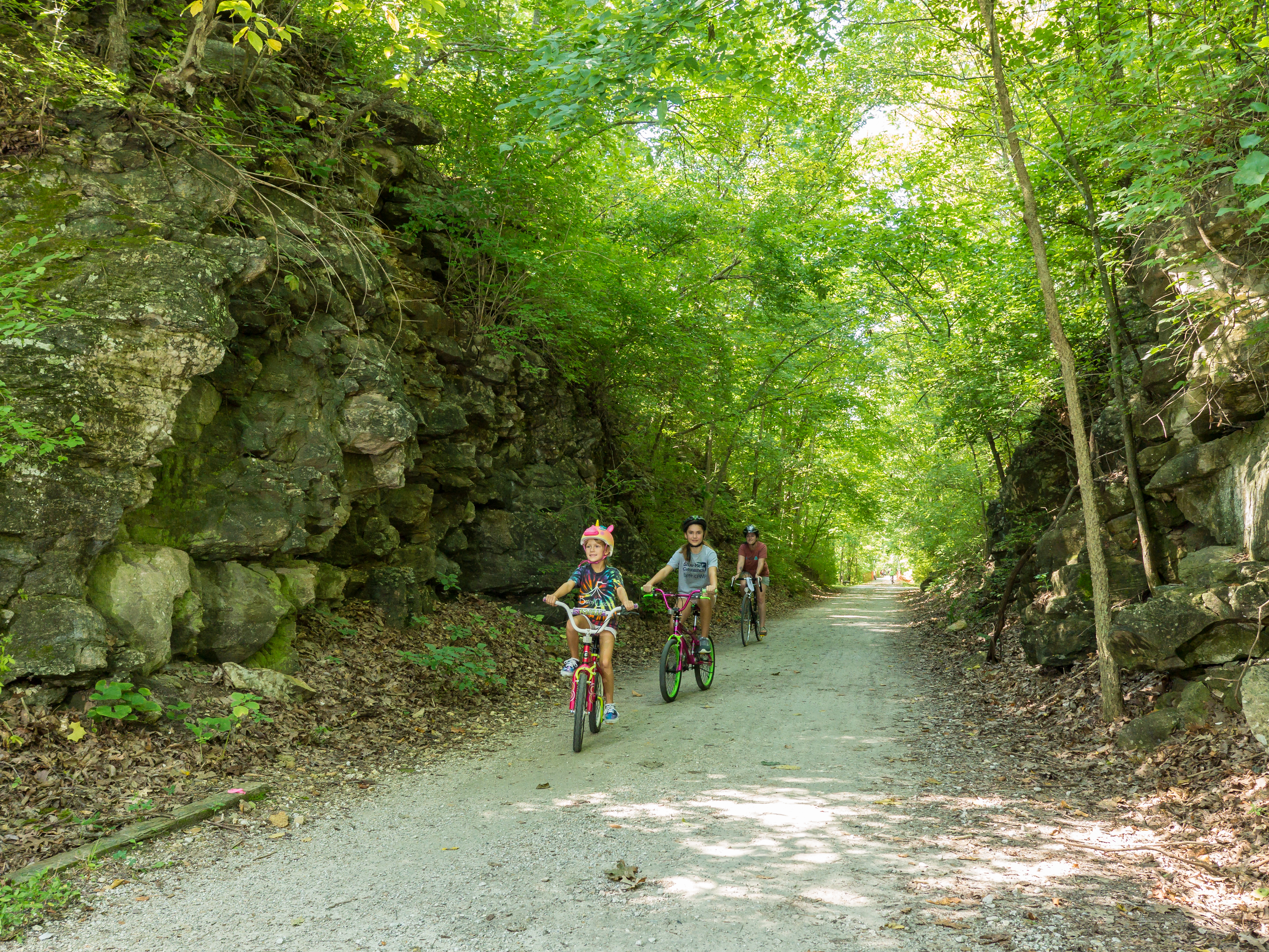 children bicycling on the MKT Trail in Columbia, Missouri