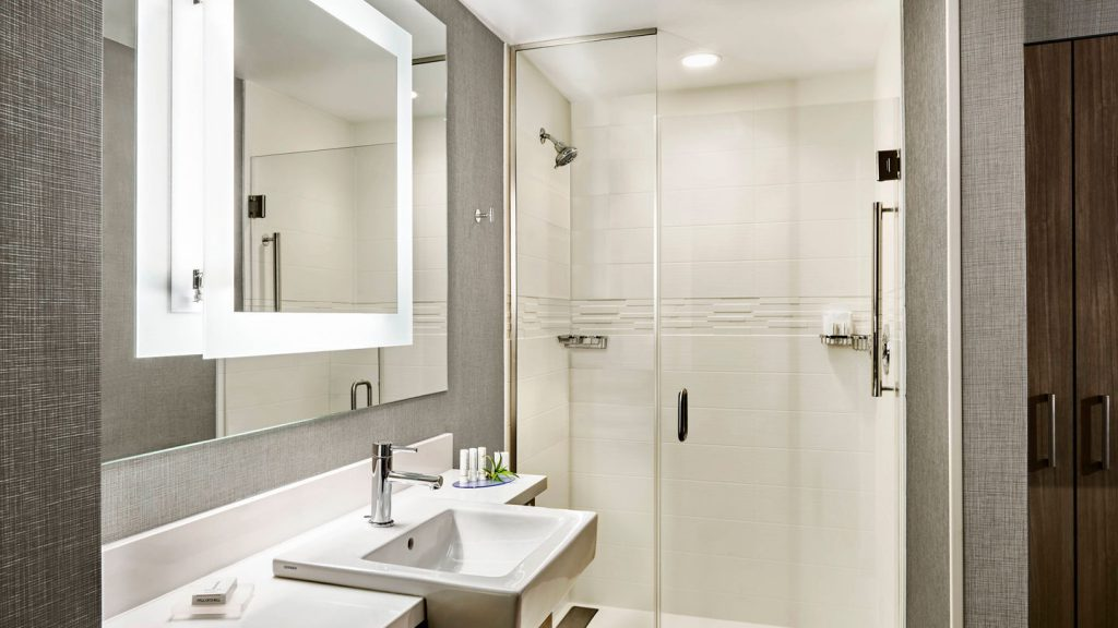 springhill suites bathroom with walk in shower