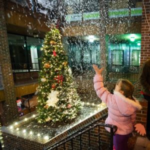 Girl looking at a christmas tree through a living window.